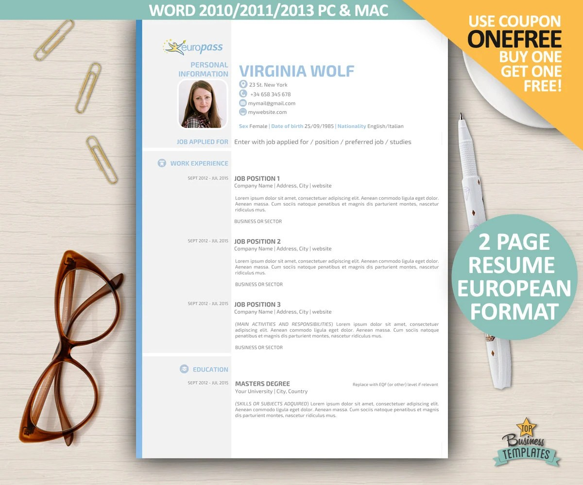 Cv Europass Documents Europass Curriculum Vitae Template Etsy Se