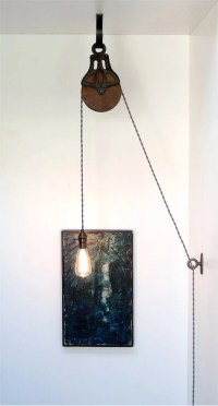 DIY Kit for Antique Cast Iron & Wood Pulley Lamp Vintage