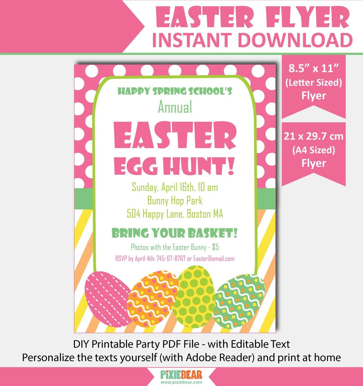 Easter Flyer, Easter Egg Hunt Flyer, Easter Party Flyer Template - easter flyer template