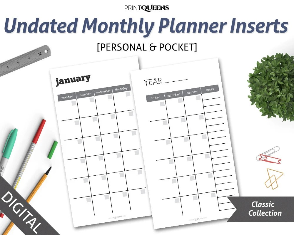 Undated Monthly Planner Insert Printable, Month On Two Pages, MO2P