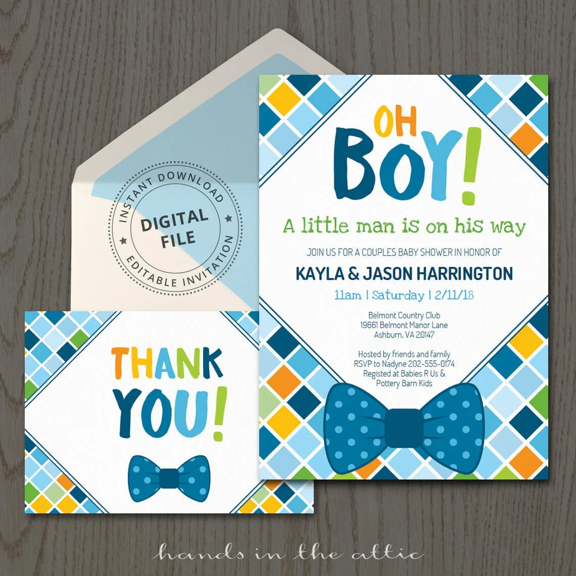 Bow tie baby shower invitations, themed, baby boy, invitation - baby shower invitation templates