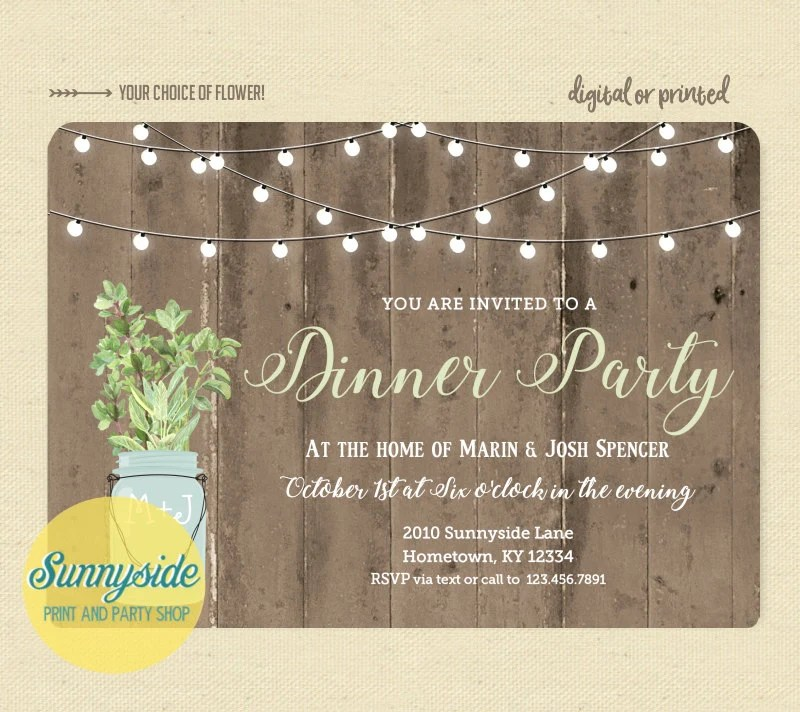 Rustic dinner party invitation, cocktail party invite with twinkle - invitation for cocktail party