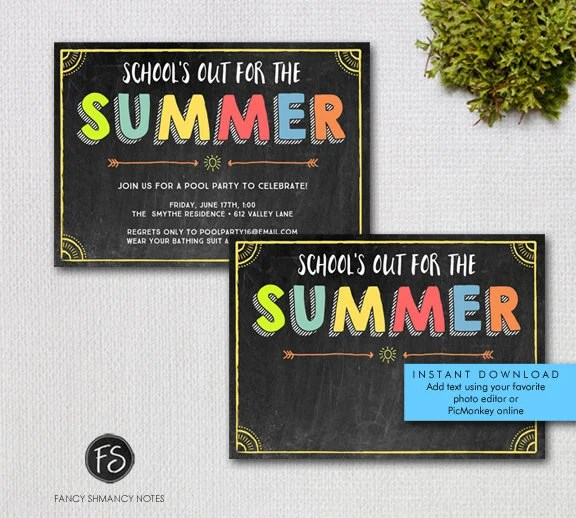 Summer Party Invitation / Printable School\u0027s Out Chalkboard - chalk board invitation template