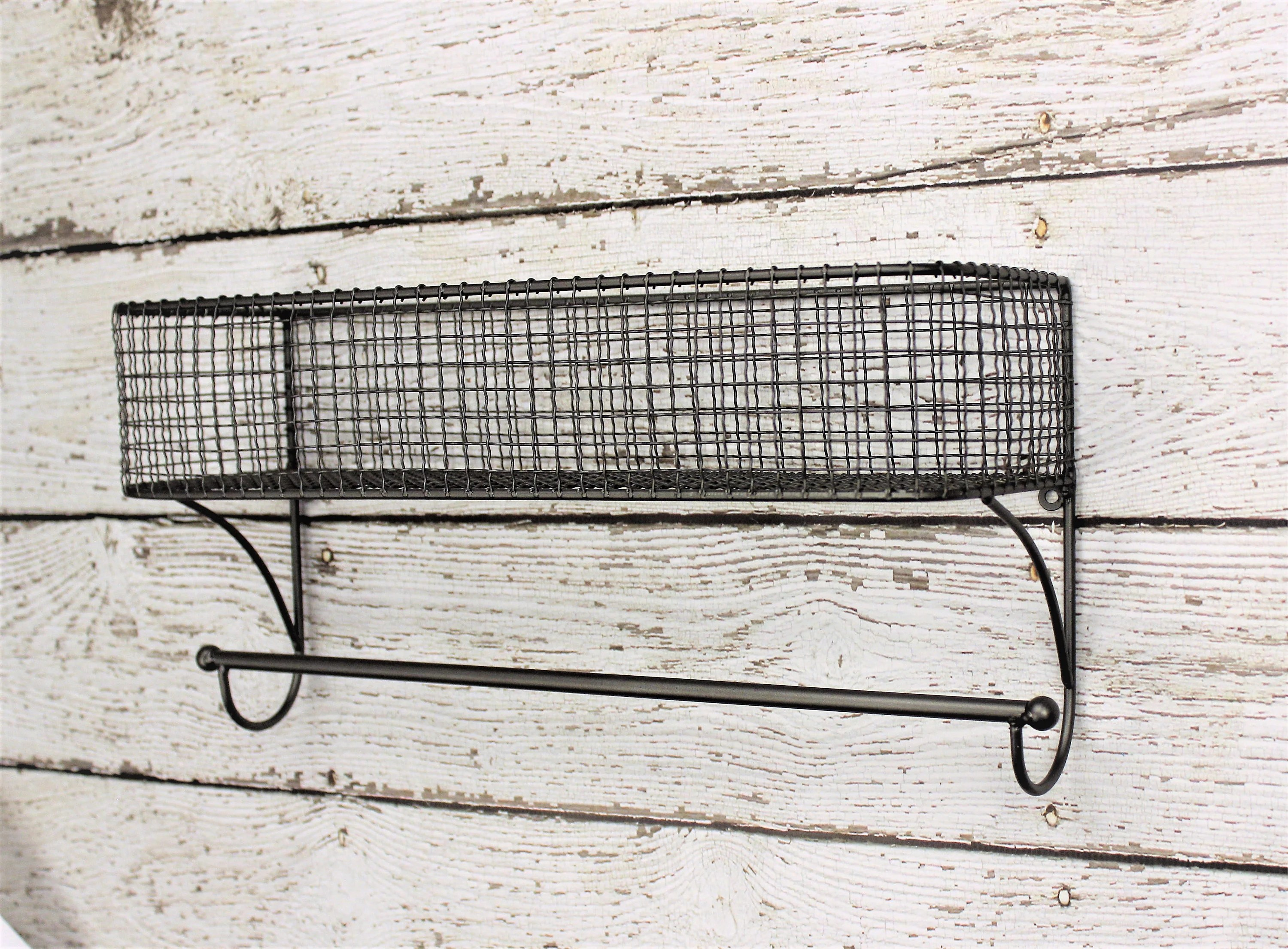 Farmhouse Hand Towel Holder Bathroom Organizer Basket Towel Rod Bathroom Shelf Bathroom