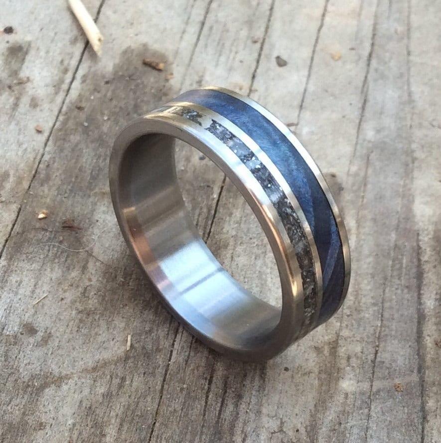 womens wedding band womens titanium wedding bands Titanium Ring Meteorite Ring Wood Ring Blue Wood Ring Mens Ring Womens Ring Wedding Band Handmade Ring Engraved Ring Personalized