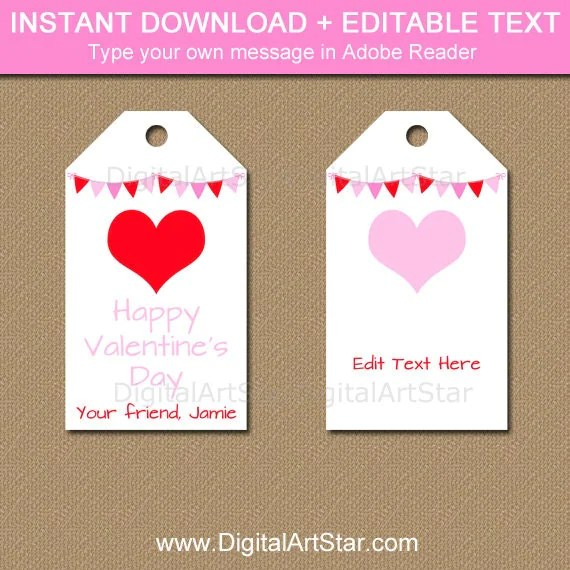 Valentines Day Tag Template, Valentine Hearts Tags, PRINTABLE