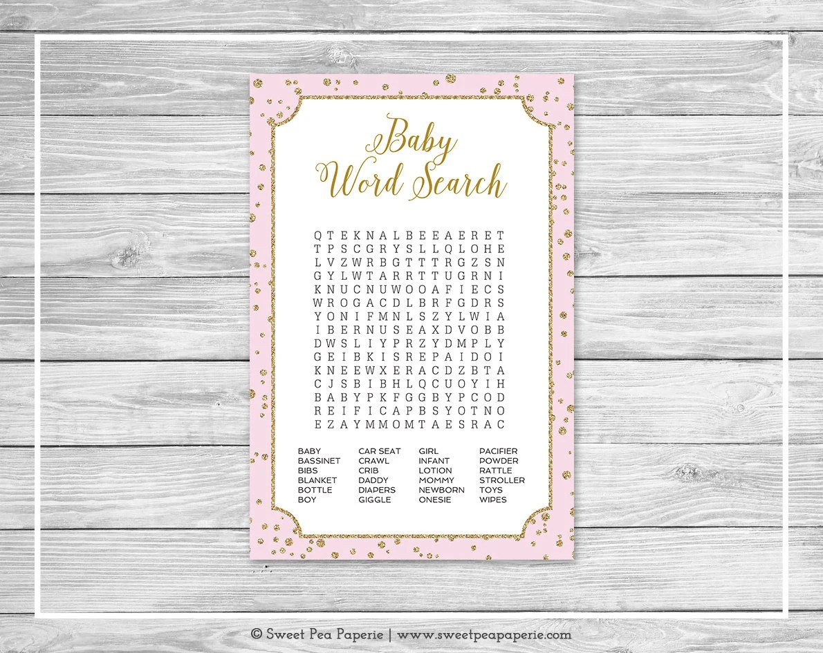 Pink and Gold Baby Shower Baby Word Search Game - Printable Baby