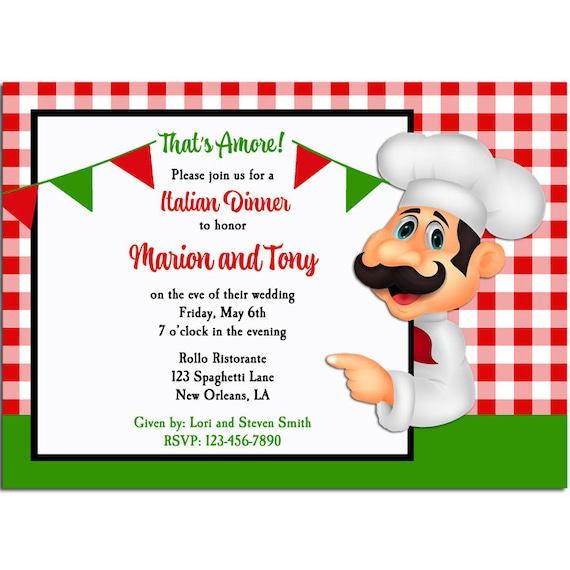 Italian Party Invitation Printable or Printed with FREE SHIPPING - Free Printable Dinner Party Invitations