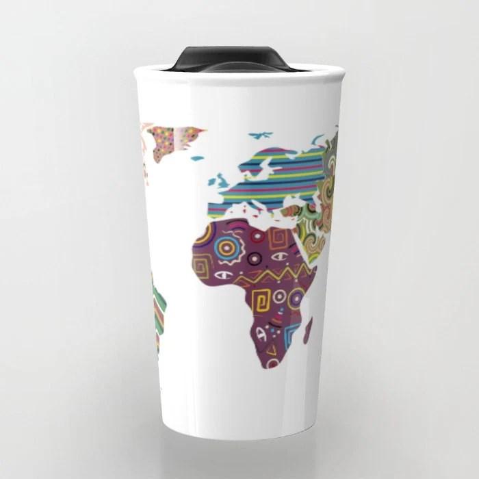 World Map Travel Mug, Cute Travel Mug, Ceramic Mug, Unique
