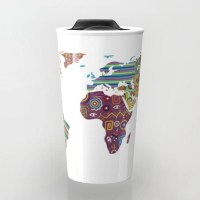 World Map Travel Mug, Cute Travel Mug, Ceramic Mug, Unique