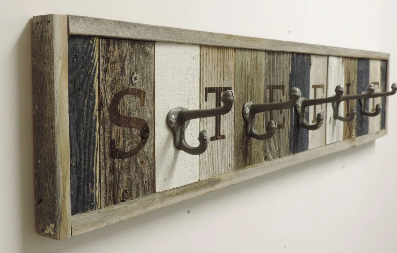 Personalized Reclaimed Wood Coat Rack Barn Wood Hooks