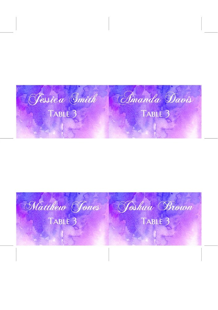 Watercolor purple wedding Guest cards Winter wedding place cards - guest card template