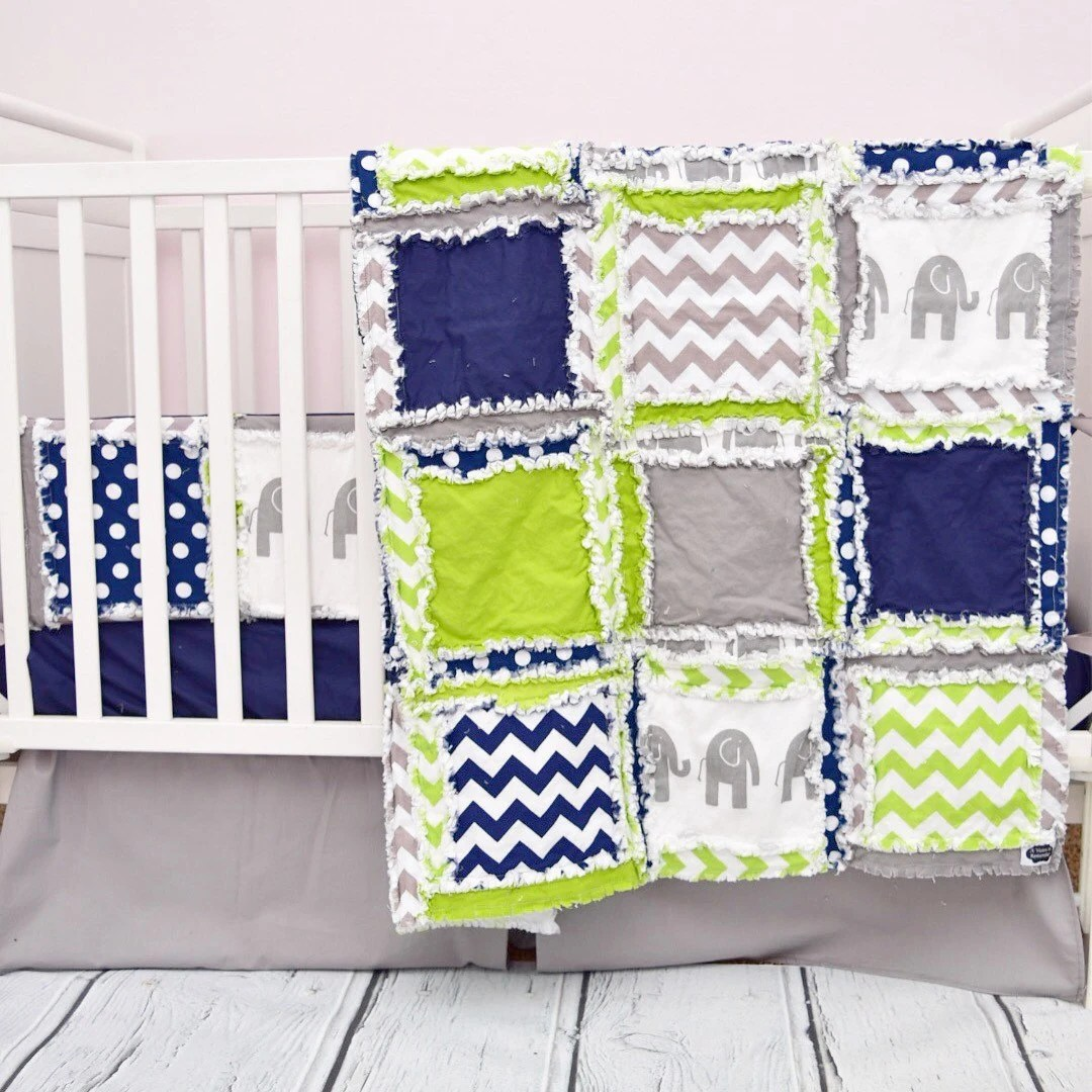Elephant Crib Bedding Crib Set Navy Green Gray Nursery