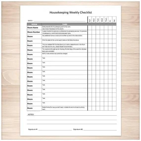 Printable Housekeeping Weekly Checklist Editable PDF - weekly checklist