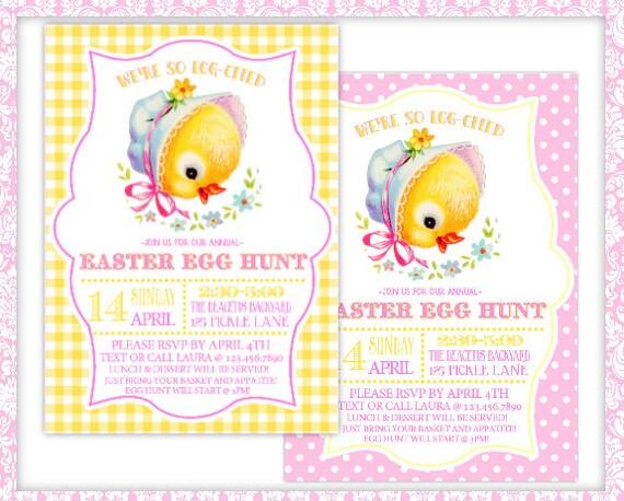 Retro Chick-Easter Invitation-Print At Home-Easter Egg Hunt