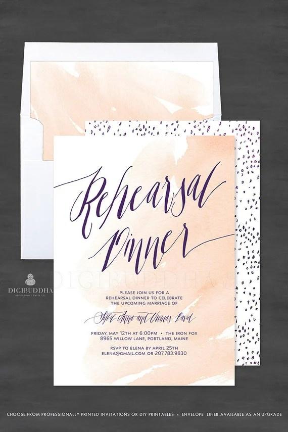 Watercolor Rehearsal Dinner Invitation, 5x7 Customized Wedding