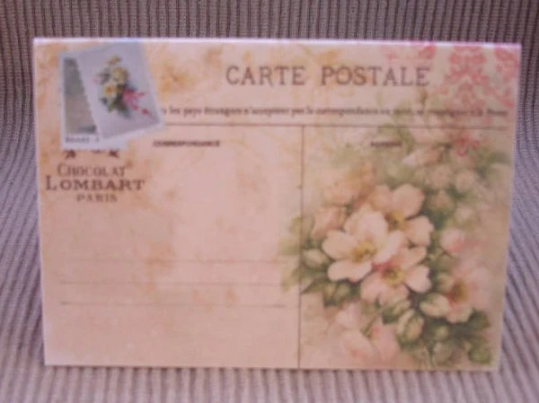 Wedding Place Cards Vintage Flowers Postcard Tent Style Place Cards