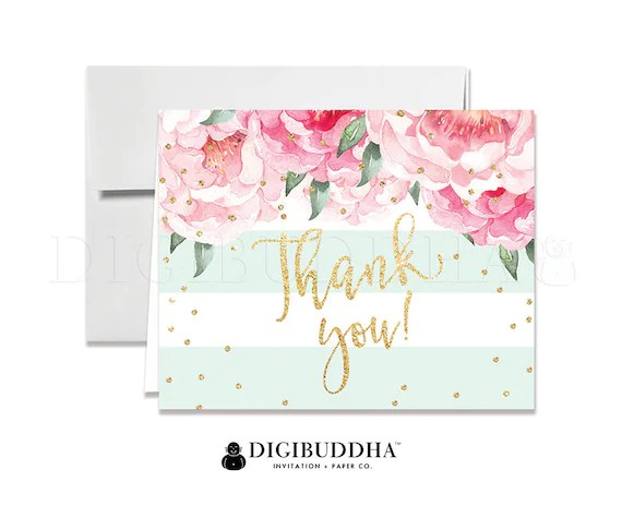 Floral Thank You Cards Baby Shower Thank You Note Cards Wedding