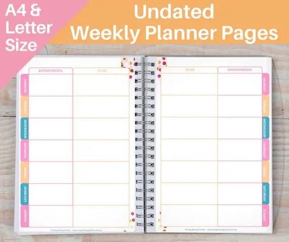 UNDATED Printable Weekly Planner Pages - 2 Designs - Bullet Journal