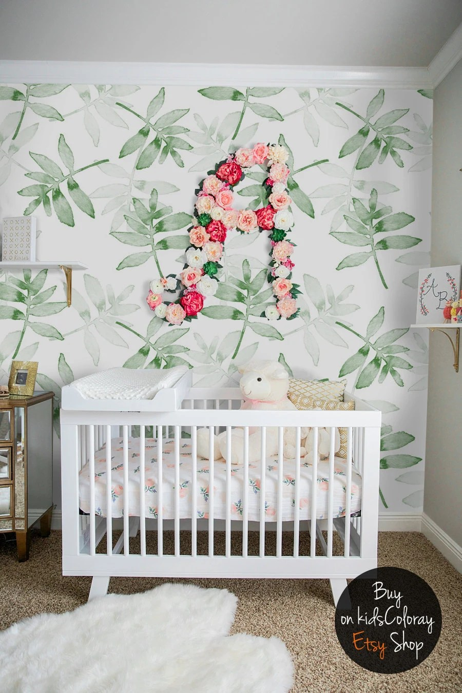 Wandtapete Kinderzimmer Green Leaves Wallpaper Tropical Plants Wall Mural Kids