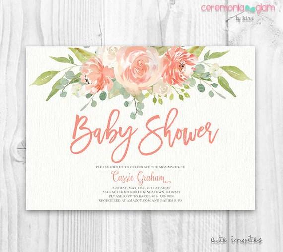 Floral Baby Shower Invitation, floral boho baby shower Invitation - baby girl invitation