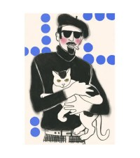 Cat art Florentine and Tobias 4 X 6 print 4