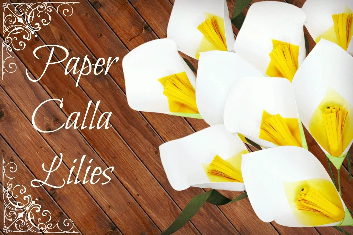 Paper Calla Lily Template  Tutorial, DIY Paper Flower Template