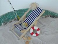 Miniature Deck Chair blue, miniature beach garden ...