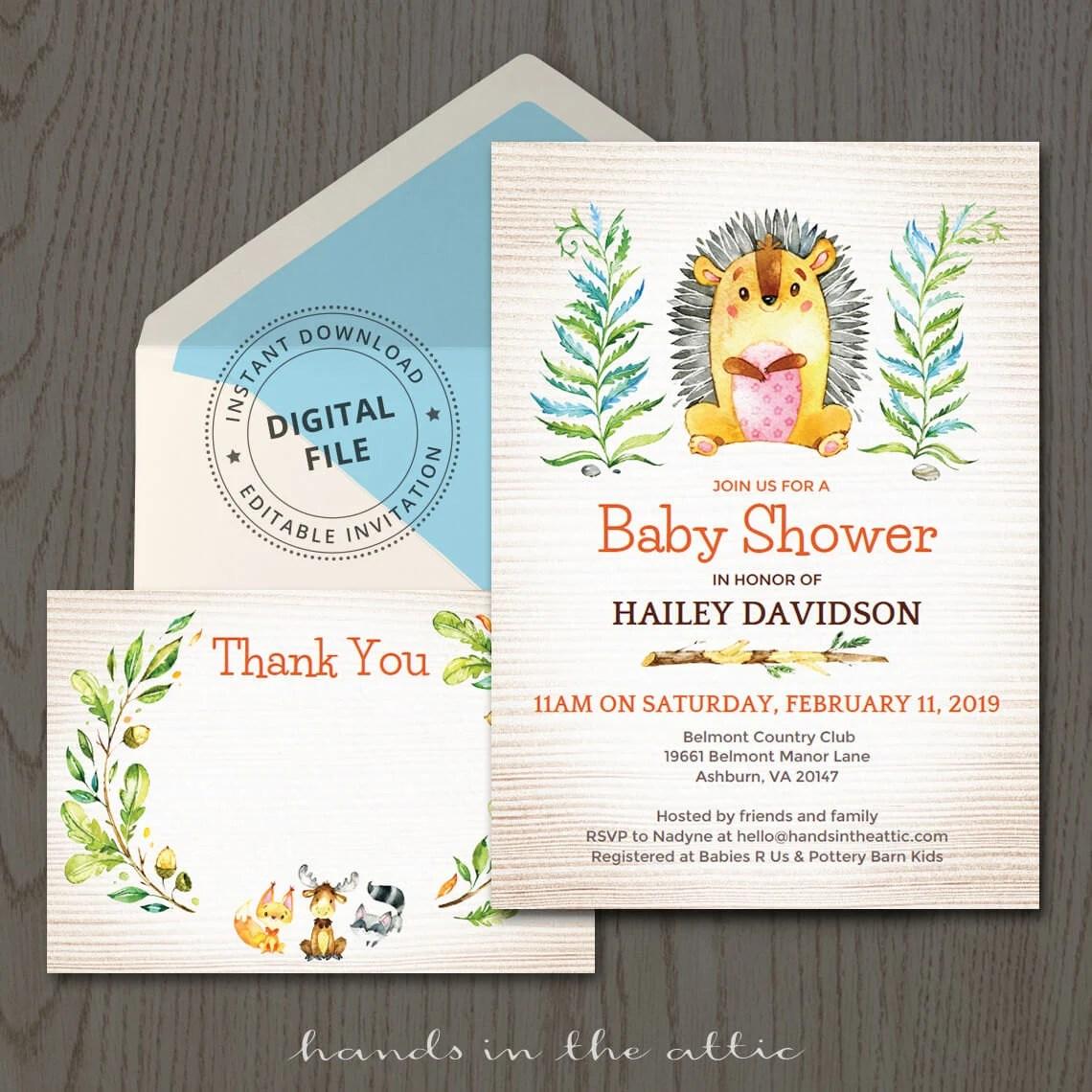 Woodland animals baby shower invitations, hedgehog, cute porcupine
