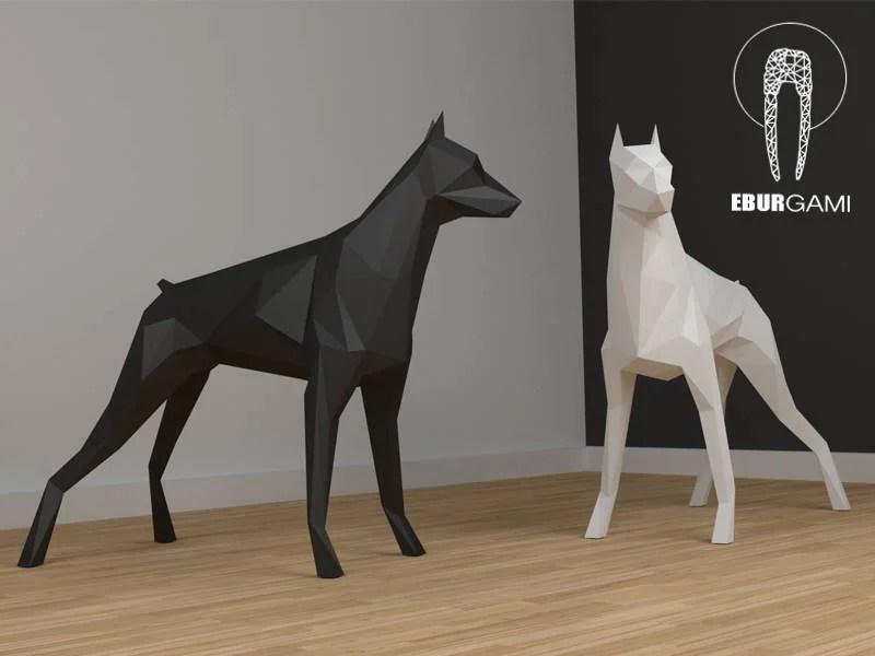 3d Xxl Papercraft Dobermann Dog Papercraft Template