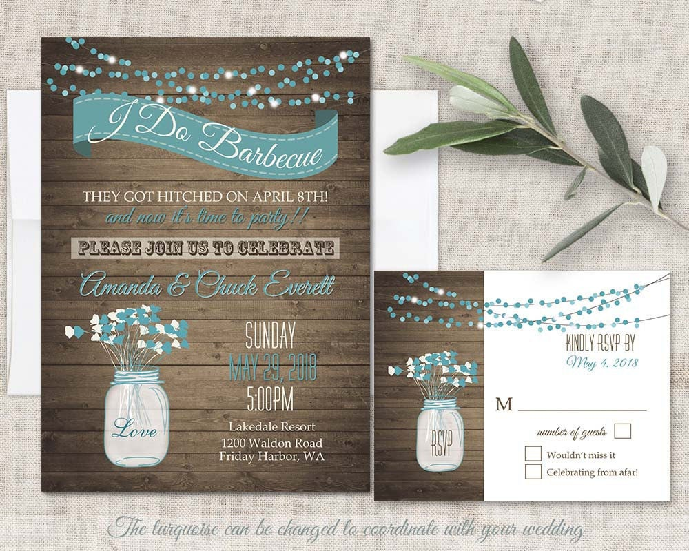 reception only reception only wedding invitations I Do BBQ Wedding Invitation Printable Wedding Invitations Reception Only Invitations Rustic Mason Jar Country Western Digital Template