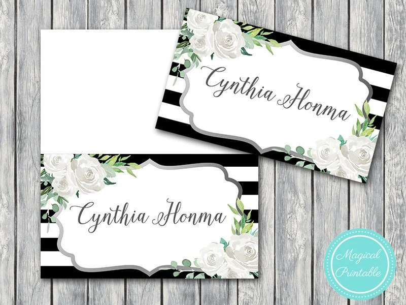 50 Download File Wedding Name cards, White Floral Name Tags