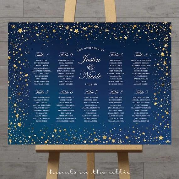 Stars wedding seating chart, celestial night, silver gold stars - printable seating charts