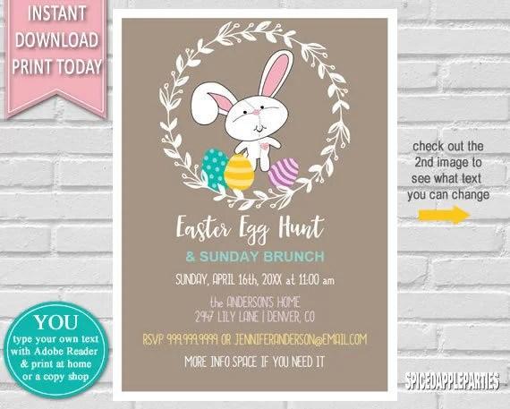 Easter Egg Hunt Easter Invitation, Egg Hunt Invitation, Easter