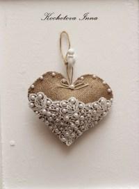 Burlap lace heart ornaments Home decor ornaments by ...