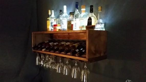 Lighted Mini Bar And Wine Bottle Rack Wine Storage Display
