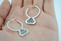 Diamond earrings flashy earrings modern silver earrings