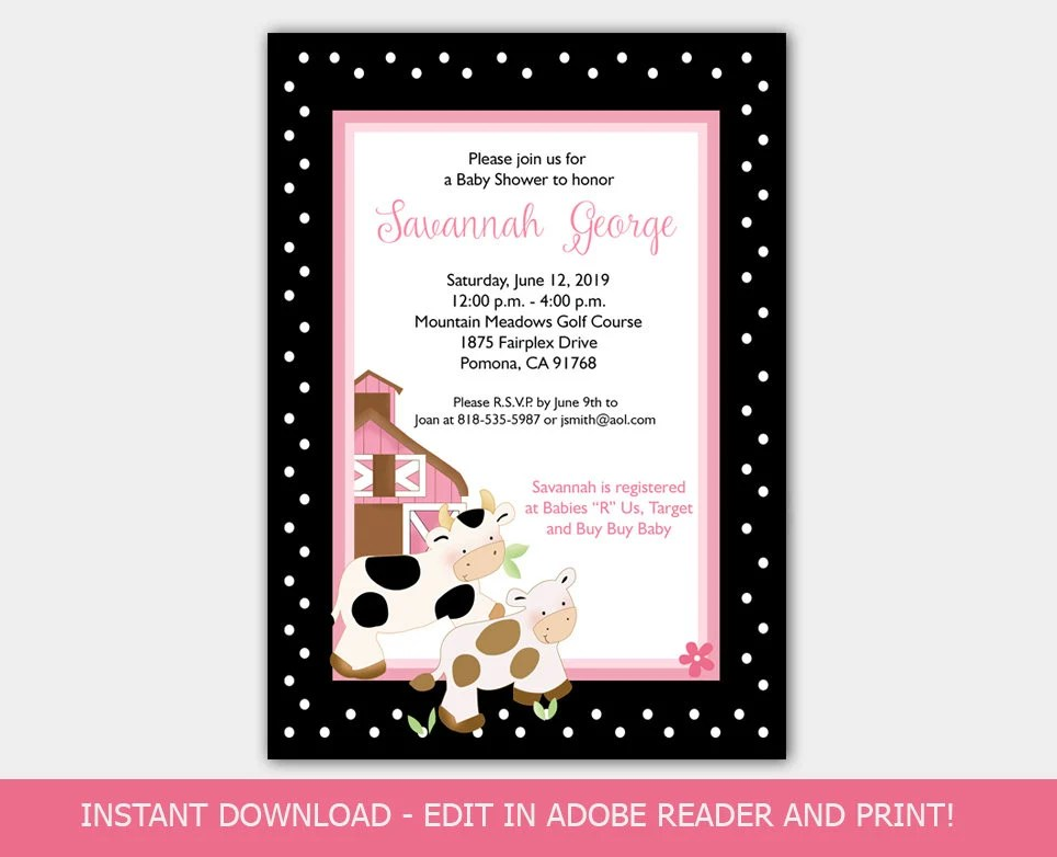 Baby Moo Moo Cow Girl Baby Shower Invitation Barn Farmyard Pink and