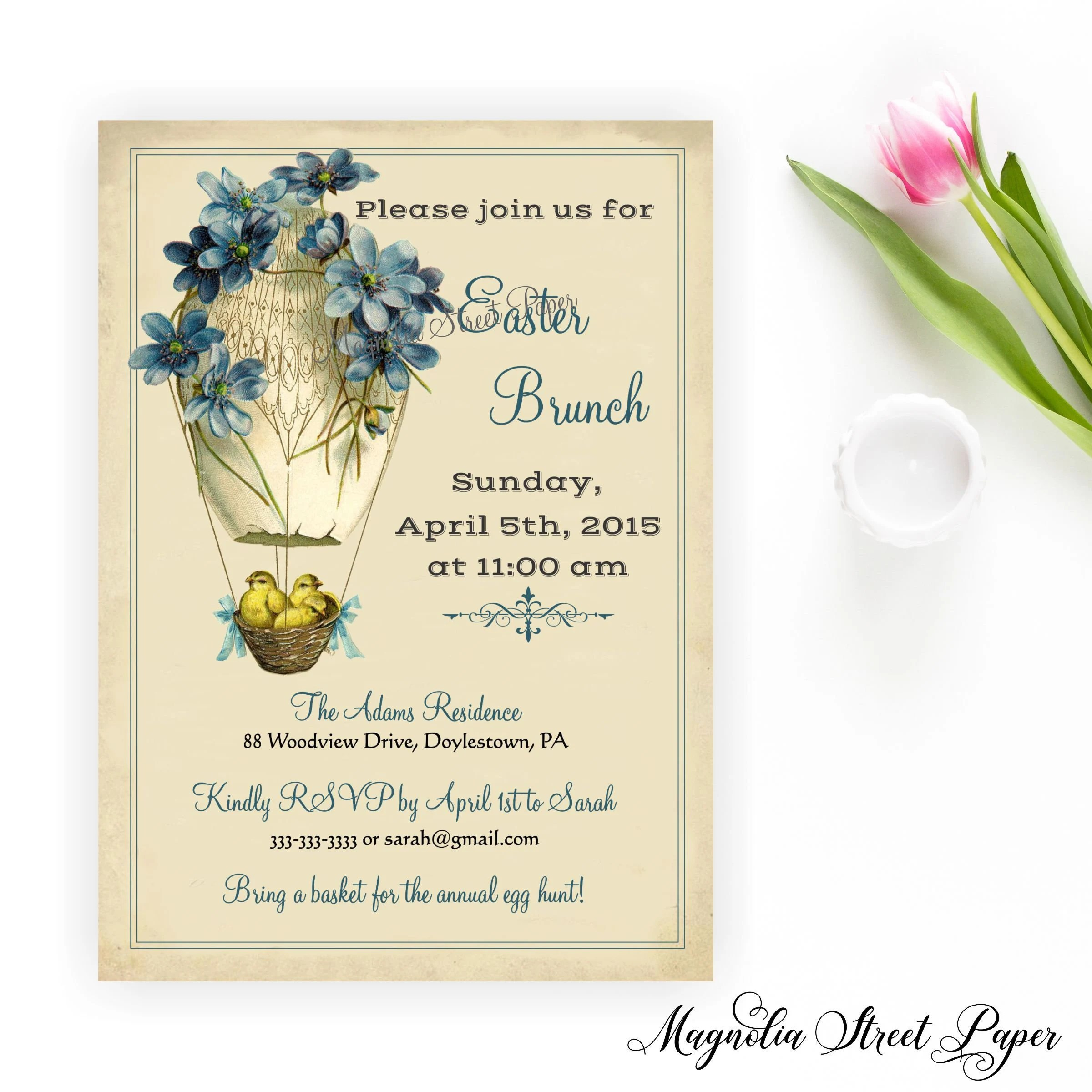 Easter Brunch Invite, Chicks and Egg Easter Invitation, Vintage