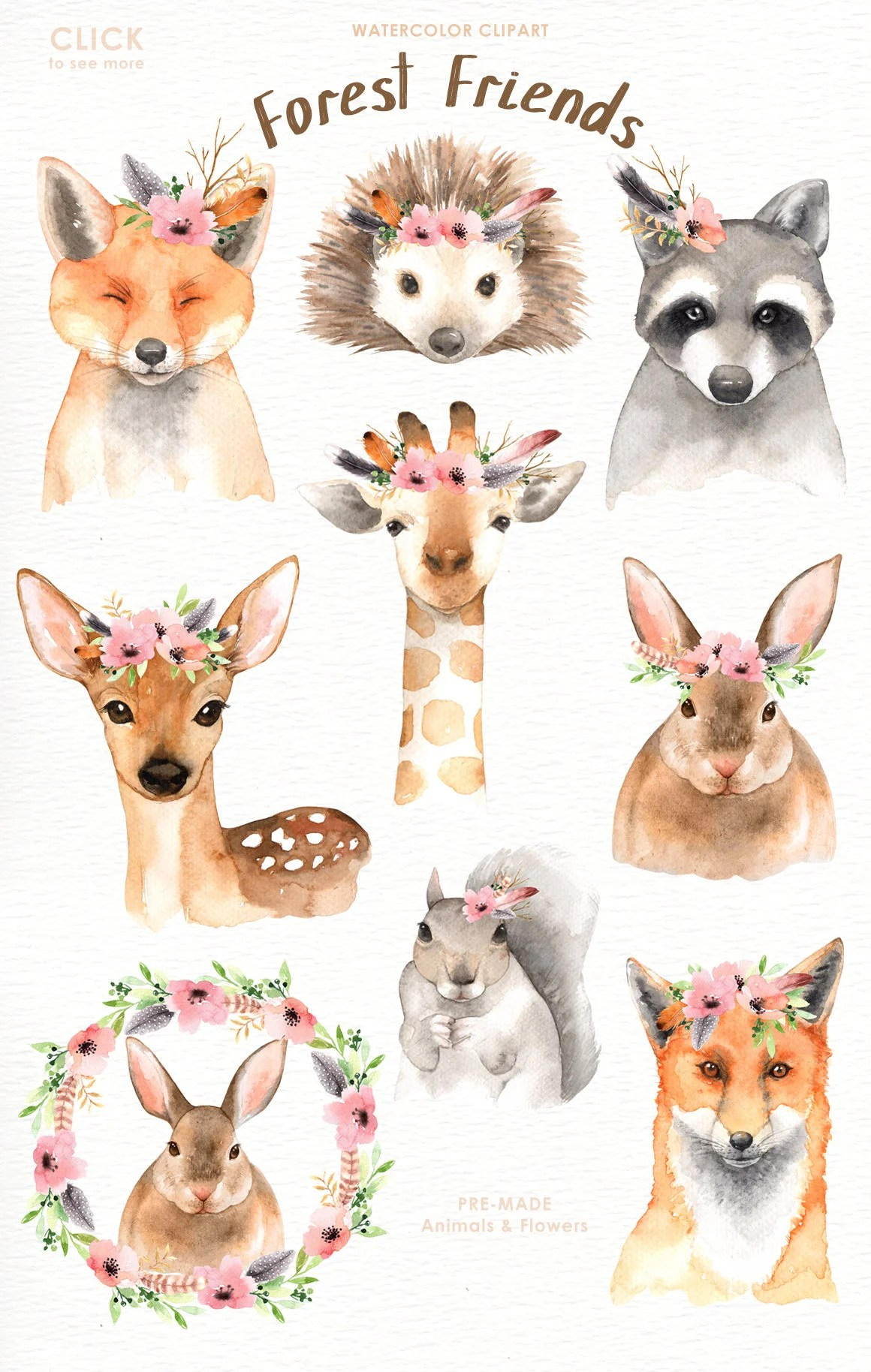 Cute Baby Pets Live Wallpaper Download Forest Friends Watercolor Clip Art Woodland Animals Kids
