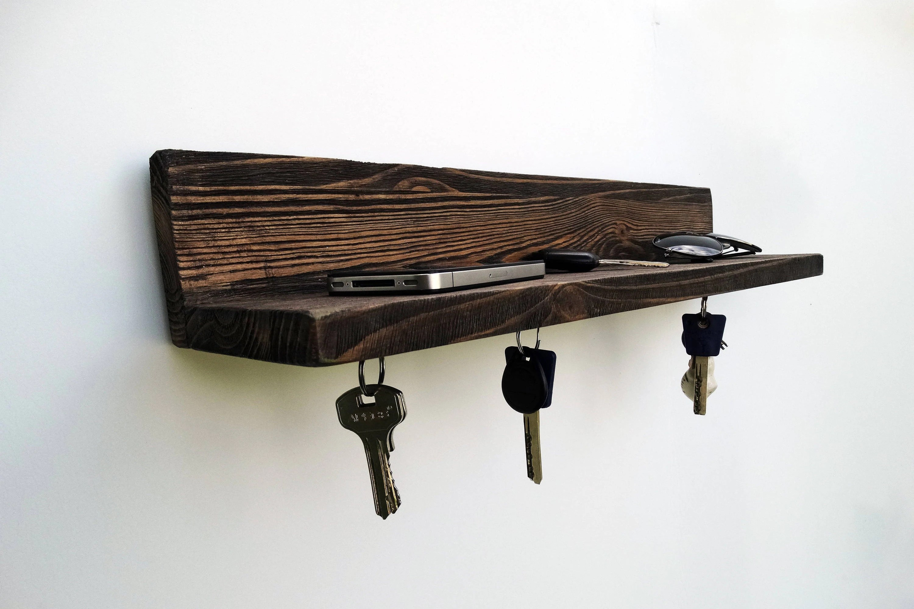 Wooden Key Holder With Shelf Wall Shelf Wood Shelf Wall Key Holder Key Hanger Key Rack