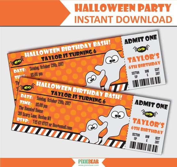 Halloween Ticket Invitation Halloween Birthday Invitation - ticket invitation