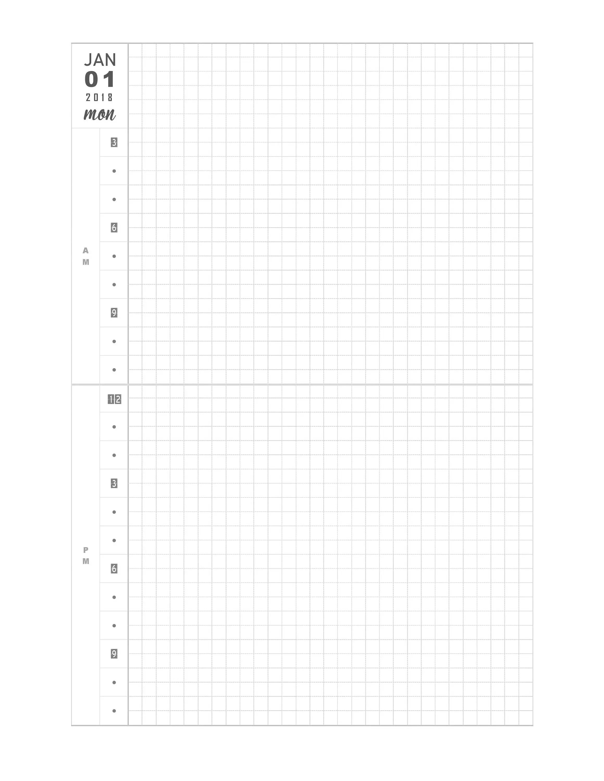 Simple and Clean Style 2018 Printable Daily Planner