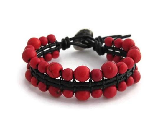 Women Red Ethnic Bracelet Red Chakra Energy Bracelet Ethnic