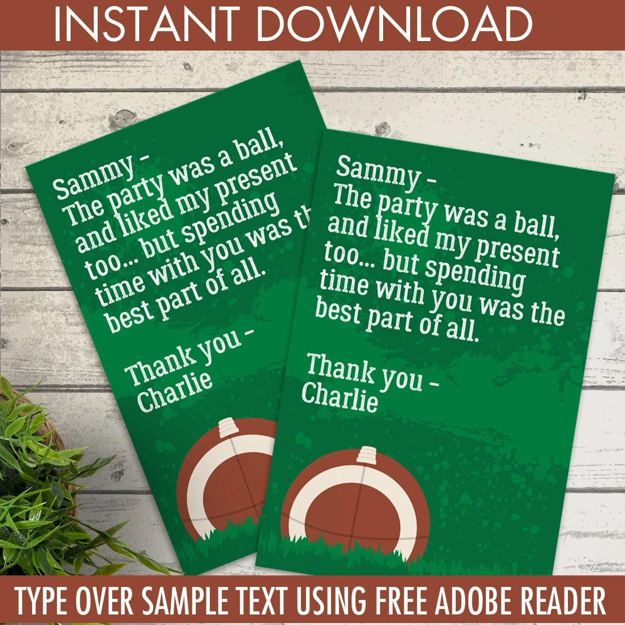 Football Party Thank You Card - Football Birthday, Tailgate, Super
