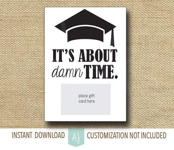 Funny, Printable Graduation Card Gift Card Holder Instant
