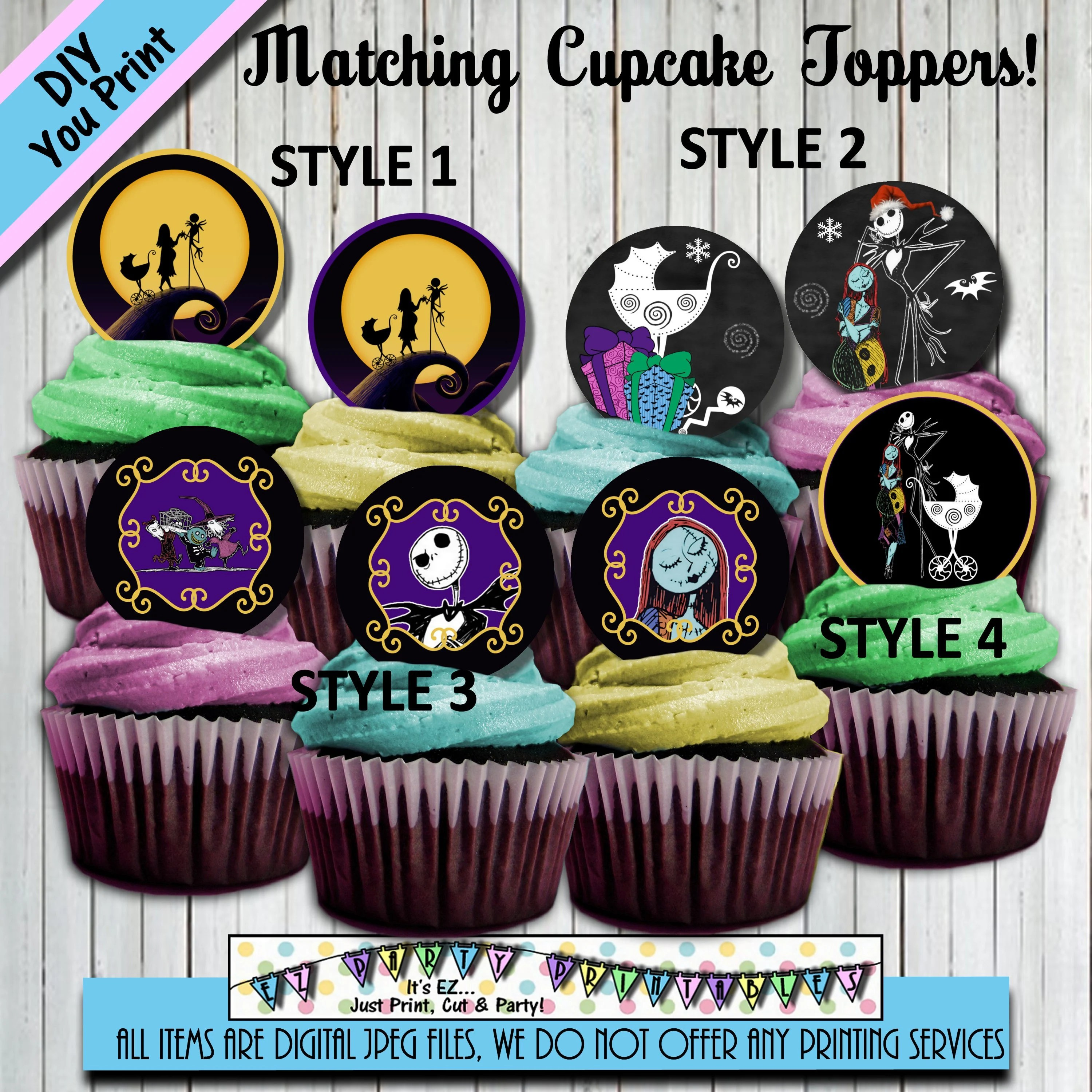 Nightmare before Christmas Cupcake toppers Baby Shower - nightmare before christmas baby shower decorations