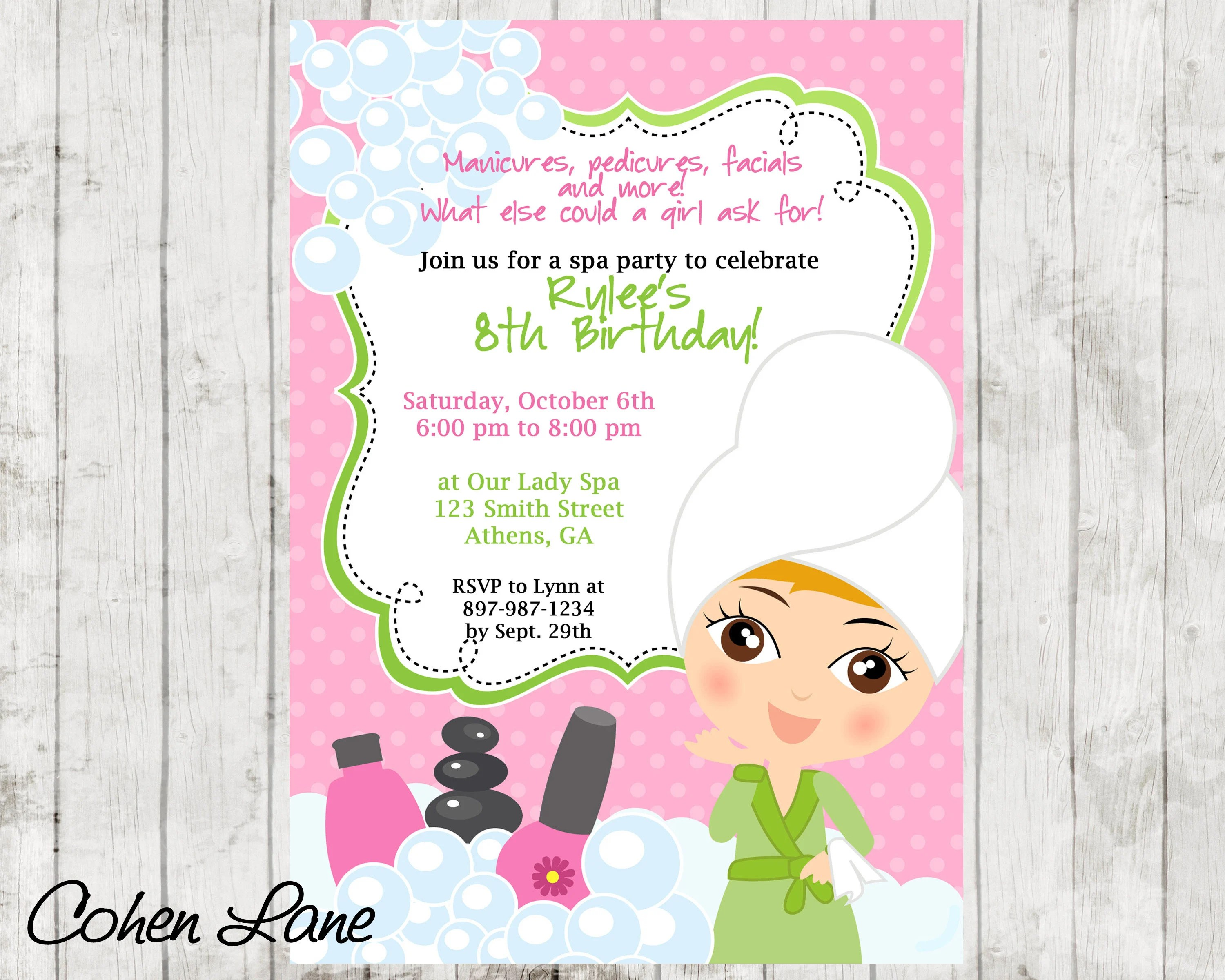 Sassy Spa Party invitation Spa Party Invite Spa Invitation Spa - spa invitation