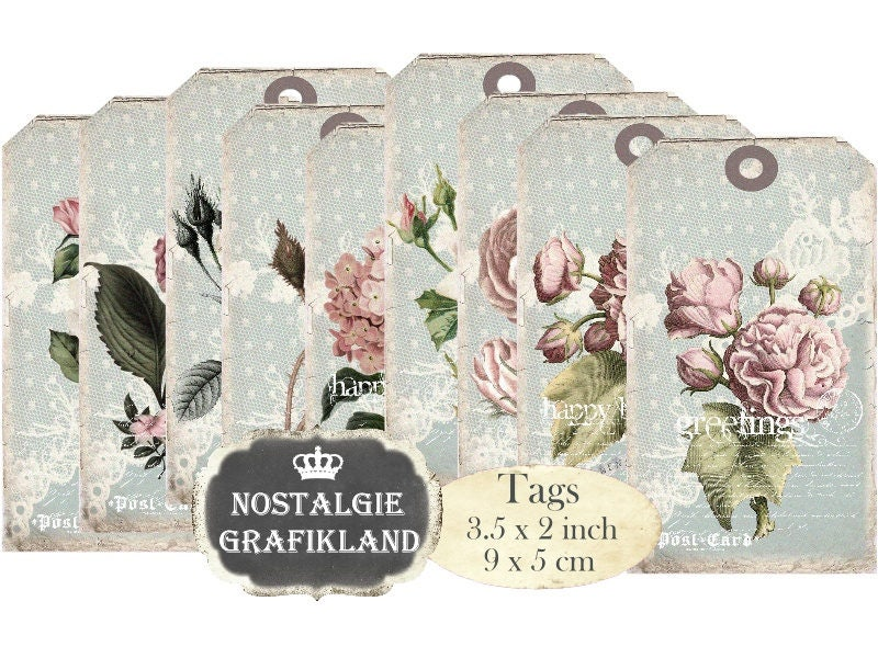 printable Gift Tags Flowers Shabby Chic Roses Paper Craft Decoupage