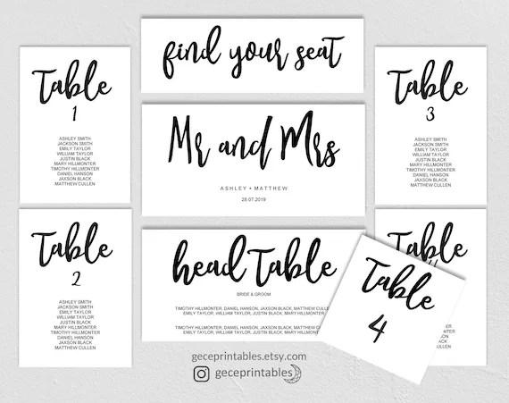 Seating Chart Wedding Printable Seating Table Plan Template, Black - printable seating charts